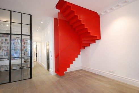 Hanging-Red-Stairs-in-London-House-1