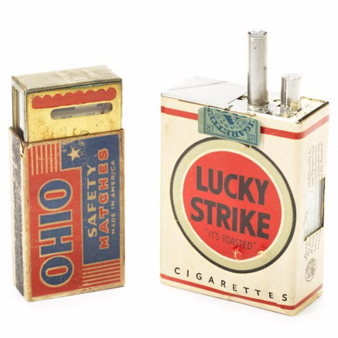 Lucky Strike spy camera with Ohio Safety match box light meter (Mast Development Corp, USA, 1949)